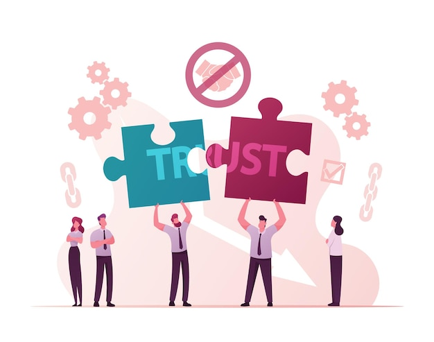 Postacie mężczyzn dzielą się puzzlami z word trust.