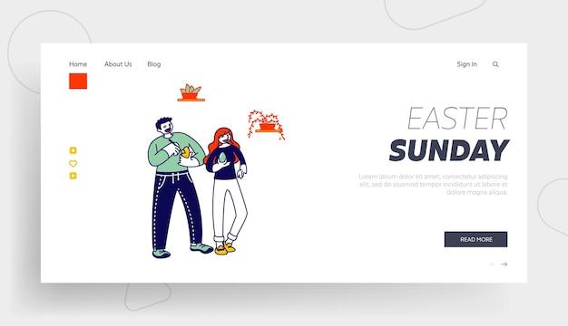 Postacie mężczyzny i kobiety malujące jajka na szablon strony docelowej obchodów wielkanocy.