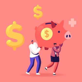 Postacie mężczyzny i kobiety niosą ogromną skarbonkę ze znakiem dolara i krzyżem medycznym. ilustracja kreskówka