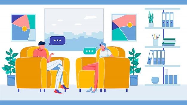 Postacie mężczyzny i kobiety siedzącej na fotelach.