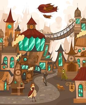 Postacie miasta technologii steampunk w bajkowym miasteczku ze starymi domami architektury europejskiej, fantasy zamki historia ilustracja kreskówka europa