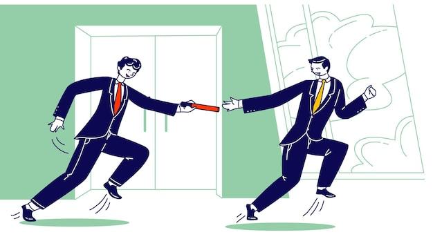 Postacie młodych biznesmenów w oficjalnych garniturach biegnących w sztafecie z pałką na korytarzu biura