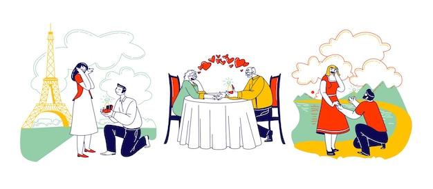 Postacie młodych i starszych proponujące ilustrację