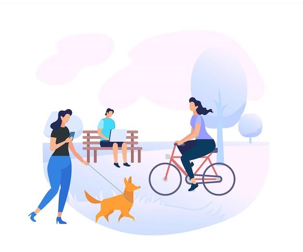 Postacie młodych ludzi relaks na terenie parku miejskiego