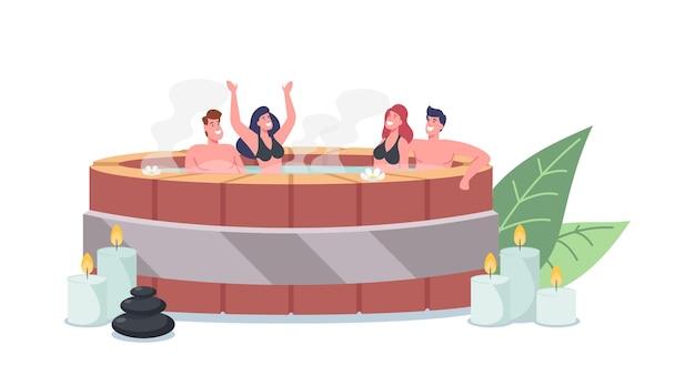 Postacie młodych mężczyzn i kobiet siedzących w drewnianej wannie onsen z gorącą wodą w saunie i zabiegiem spa. relaks, pielęgnacja ciała, terapia relaksacyjna, wellness, higiena. ilustracja wektorowa kreskówka ludzie