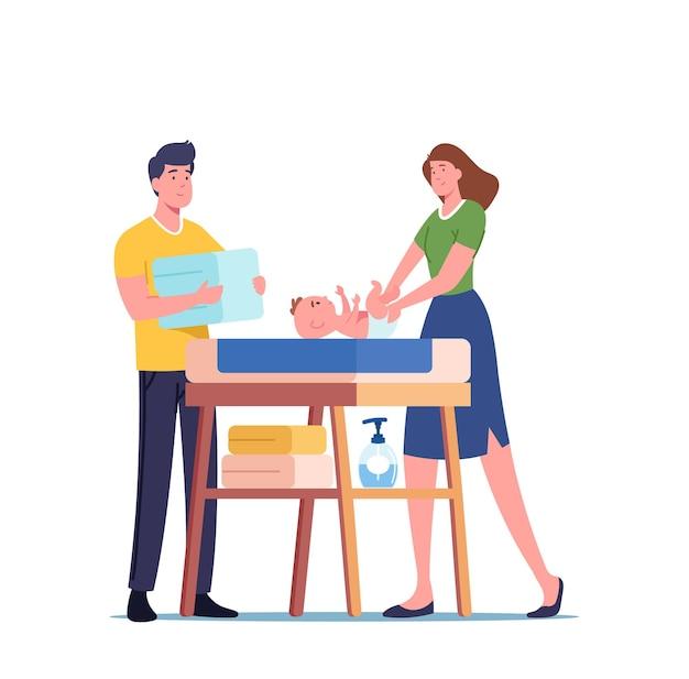 Postacie młodych rodziców stoją przy stole dziecka zamieniają pieluchy na noworodka, szczęśliwy tata i mama patrzą z miłością na małe dziecko. koncepcja macierzyństwa i ojcostwa. ilustracja wektorowa kreskówka ludzie