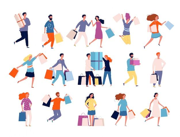 Postacie na zakupy. ludzie na rynku kupujący w butikach rabują szalone osoby na zakupy