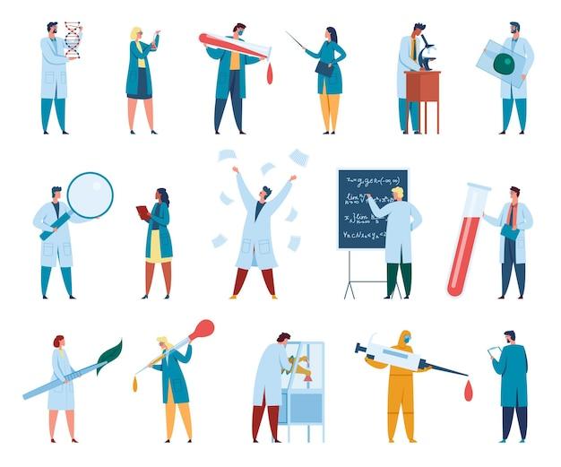 Postacie naukowców mężczyźni i kobiety naukowcy w białych fartuchach pracownicy laboratorium badacze chemicy