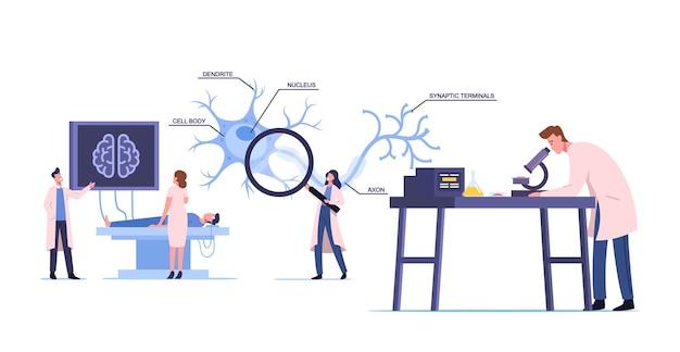 Postacie naukowców w białej szacie medycznej uczące się ludzkiego mózgu w laboratorium ze schematem dendrytu, ciała komórki, aksonu i jądra z terminalami synaptycznymi. ilustracja wektorowa kreskówka ludzie