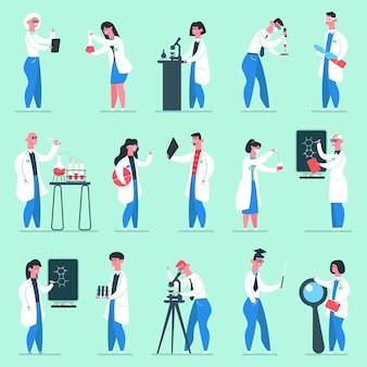 Postacie naukowe. ludzie z laboratorium, fartuchy laboratoryjne naukowcy chemicy, zestaw ilustracji pracowników laboratorium chemii. chemik laboratoryjny, naukowiec, eksperyment chemiczny