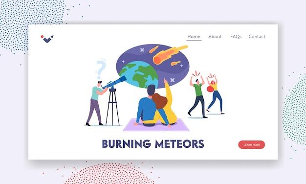 Postacie obserwujące szablon strony docelowej upadku meteorytu. mężczyzna z teleskopem spójrz na niebo z spadającymi asteroidami, kochająca para składa życzenie, przerażeni ludzie uciekają. ilustracja kreskówka wektor