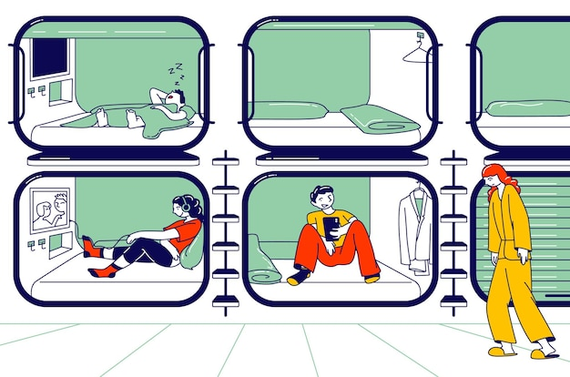 Postacie odpoczywające w hotelu kapsułowym. osoby śpiące, zrelaksowane i wypoczęte w kompaktowym pokoju z telewizorem i miejscem do spania. ekonomiczne zakwaterowanie dla podróżnych. liniowa ilustracja wektorowa