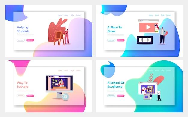 Postacie oglądają kursy wideo, zestaw szablonów strony docelowej edukacji online.
