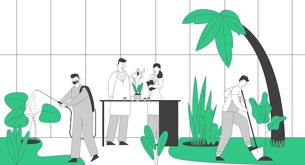 Postacie ogrodników i naukowców uprawiające i pielęgnujące rośliny w szklarni ogrodowej