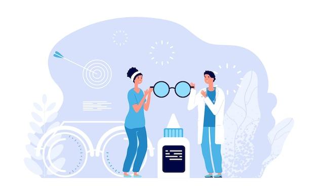 Postacie okulistów. koncepcja wektor klinika okulistyczna. lekarz i pielęgniarka w okularach, badanie wzroku, ilustracja diagnostyki. lekarz, przychodnia lekarska okulistyka