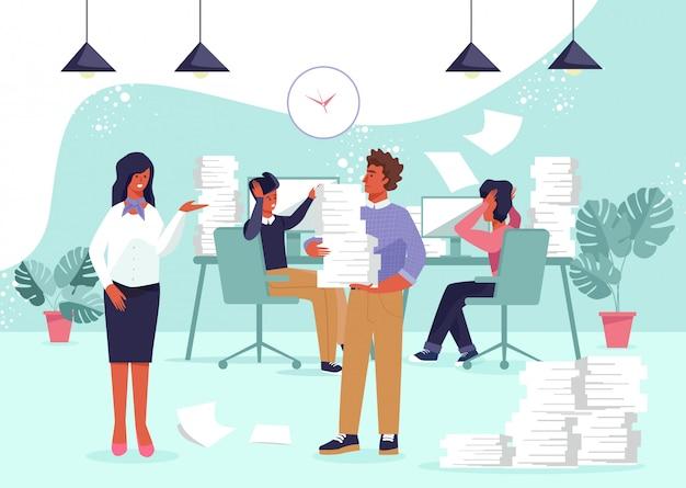 Postacie osób zajętych i przepracowanie w biurze.