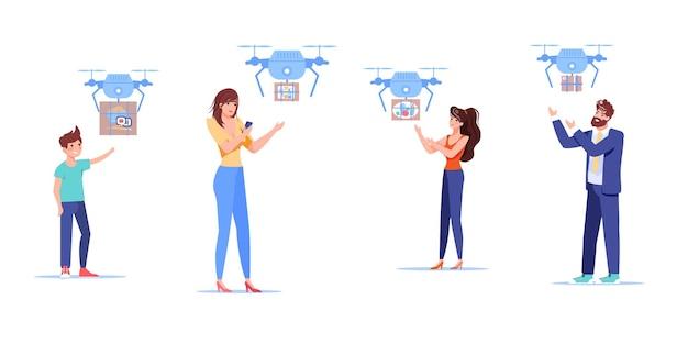 Postacie otrzymują zamówienia online z drona dostawczego