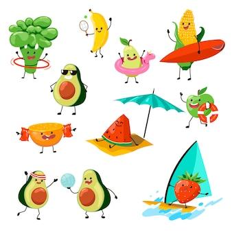 Postacie owocowe bawiące się na zestawach ilustracji na plaży