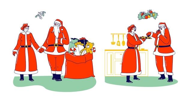 Postacie pan i pani mikołaj świętują ferie zimowe. szczęśliwy mikołaj i jego żona trzymając się za ręce, jedzenie ciasteczek z prezentami w torbie. boże narodzenie rodzina kochający małżonka para. ilustracja wektorowa ludzi liniowych
