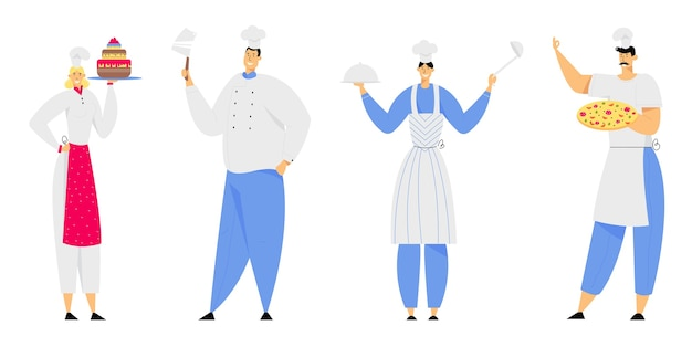 Postacie personelu restauracji w mundurze pokazujące menu, kawiarnia, pizzeria