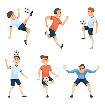 Postacie piłkarskie w różnych pozach akcji