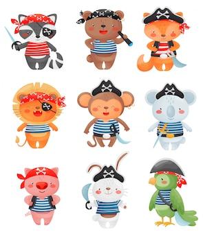 Postacie Piratów Zwierząt W Stylu Cartoon. Set śliczni śmieszni Mali Piraci Ilustracyjni. Premium Wektorów