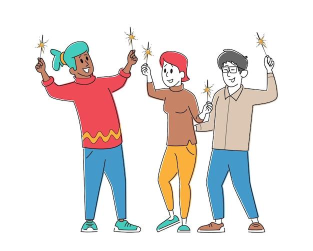 Postacie płci męskiej i żeńskiej cieszące się świętowaniem, trzymając zimne ognie w rękach