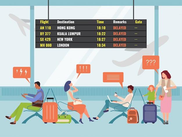 Postacie pod wpływem stresu kobieta, mężczyzna z bagażem siedzi na lotnisku międzynarodowym, czekając na opóźniony lot.