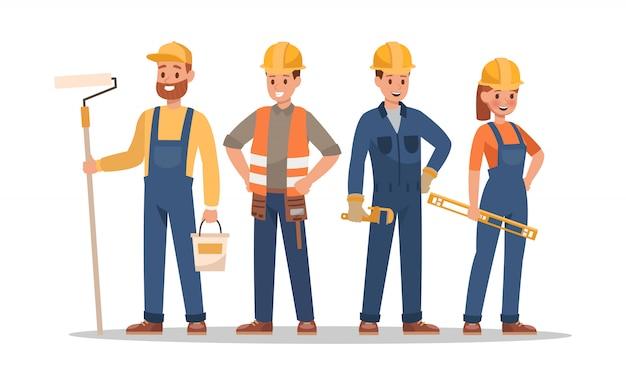 Postacie pracowników budowlanych. obejmują brygadzistę, malarza, elektryka, architekta krajobrazu, cieśli.