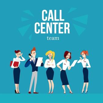 Postacie pracowników call center. ilustracja.