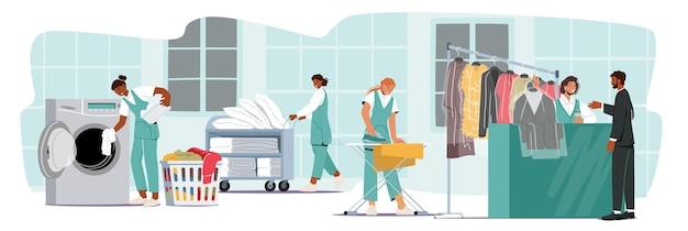 Postacie pracujące w pralni chemicznej, pracownik ładujący brudne ubrania do pralki, prasowanie, wózek z czystą pościelą w pralni publicznej, pralnia. ilustracja kreskówka wektor