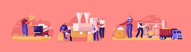 Postacie produkujące koncepcję mąki. proces produkcji pszenicy, przemysł chlebowy. ludzie uprawiający, zbierający, koszący, zbierający i mielony zbiory zbóż, rolnictwo. ilustracja kreskówka wektor