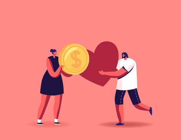 Postacie przekazują pieniądze i ilustracja serca tiny man and woman charity, pomoc społeczna, wsparcie darowizn, sponsoring wolontariatu, wolontariat humanitarny