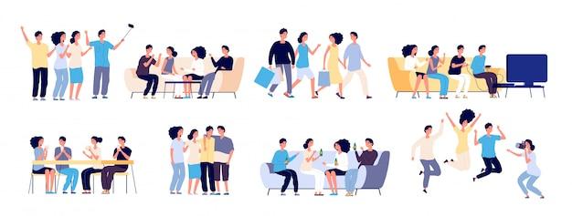 Postacie przyjaciół. przyjaźń między ludźmi.