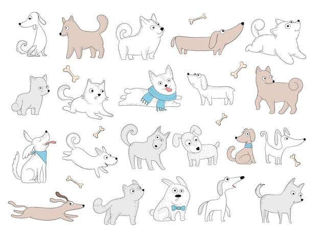 Postacie psów. śmieszne zwierzęta domowe bawiące się szczeniaka z zabawkami przyjazny uśmiech psy wektorowe zdjęcia. ilustracja pies charakter krajowy, słodkie śmieszne zwierzak