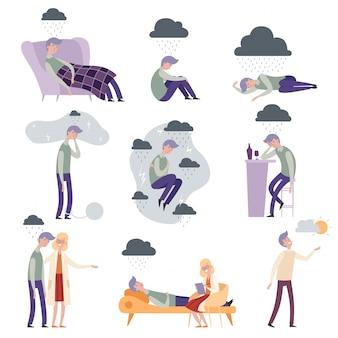 Postacie psychologa. ludzie w depresji nieszczęśni sami i sfrustrowane ilustracje lekarza-terapeuty