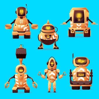 Postacie robotnika drogowego z robotami sztucznej inteligencji z kreskówek