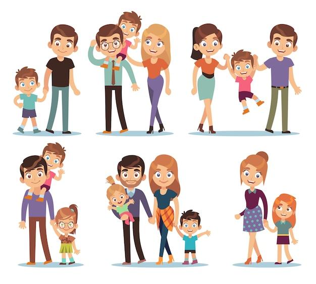 Postacie rodzinne. szczęśliwe tradycyjne rodziny ludzie związek matka ojciec dzieci babcia dziadek pet kolorowy kreskówka zestaw