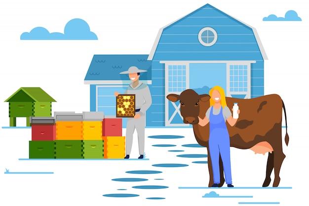 Postacie rolnika i pszczelarza pracują na farmie zwierząt,