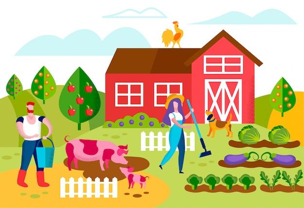 Postacie rolników pracujących w ogrodzie. uprawa roli
