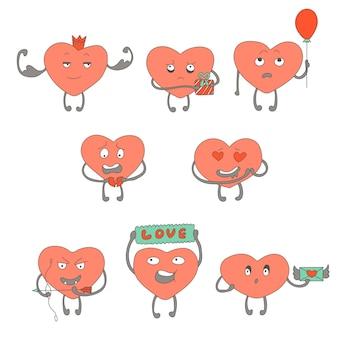 Postacie różowe serca tworzą naklejki różne emocje twarzy