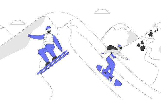 Postacie snowboardzistów bawią się i uprawiają sporty zimowe w górach