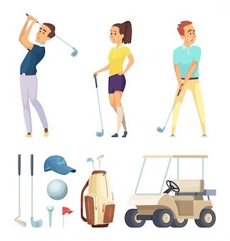 Postacie sportowe i różne narzędzia dla graczy w golfa. wektor maskotki kreskówka