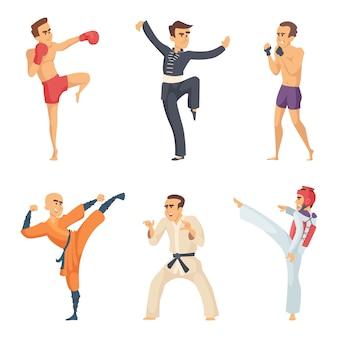 Postacie sportowe w pozach akcji. zawodnicy karate taekwondo