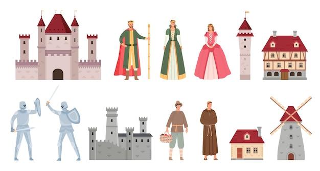 Postacie średniowieczne. kreskówka średniowiecza król, królowa, księżniczka, pojedynek rycerzy na miecz, chłop i mnich. starożytny zamek i dom wektor zestaw. ilustracja król i królowa, średniowieczny zamek z kreskówek