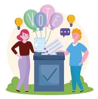 Postacie stojące przy polu głosowania i trzymające ilustrację do głosowania