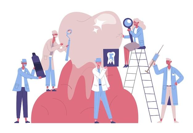 Postacie stomatologów dbają o gigantyczny ząb. usługi stomatologiczne, lekarze leczą, czystą płytkę nazębną i próchnicę wektor zestaw ilustracji. leczenie w klinice stomatologicznej. osoby badające lupę