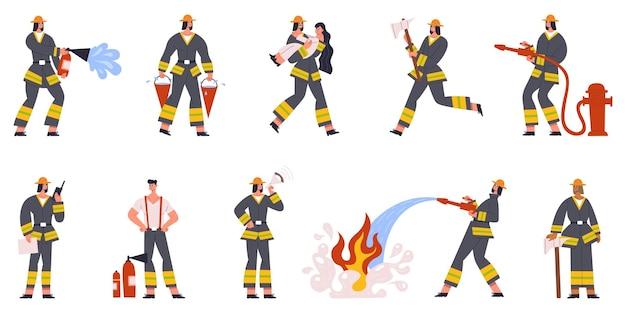 Postacie strażaka pogotowie podlewa ogień i ratuje ludzi. sytuacje przeciwpożarowe wektor zestaw ilustracji. strażacy w pozach akcji. kreskówka zawód strażaka, ratownictwo zawodowe