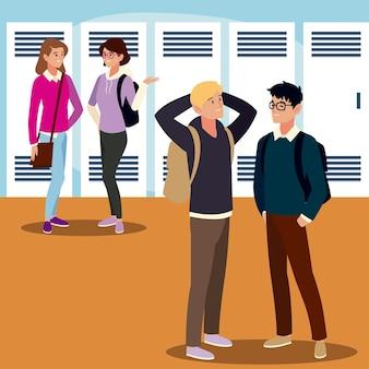 Postacie studentów płci męskiej i żeńskiej z plecakami na ilustracji sali