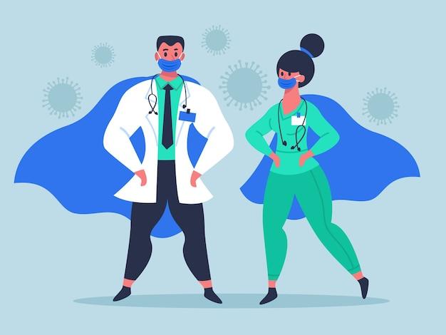 Postacie super doktorów w maskach medycznych i falujących pelerynach